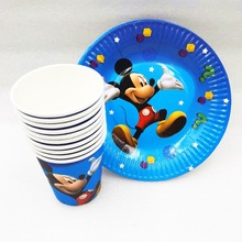 20p/set Moana Mickey Minnie Mouse Avengers Minions Princess Superhero Plates Cup Party Supplies Decoration Tableware Favors