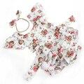 Nueva Llegada de Dulce Bebé Niños Floral Remiendo de La Manera de Las Borlas Del Diseño Niños Del Algodón Del Verano de Los Mamelucos Mamelucos emparejado diadema