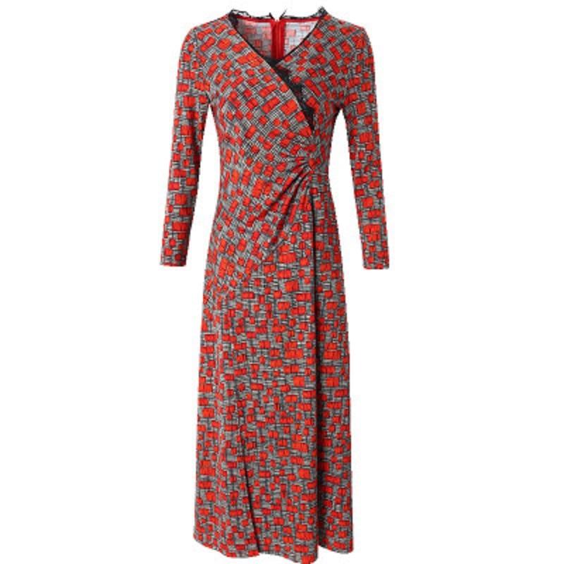 De High Imprimer Noël Sexy Plus D'hiver Drapé Bifurquer Robe Longues Élégant Street Nouveau 2018 Femmes Rouge Plaid Robes Taille Printemps Cou V Pzaqvaxw5
