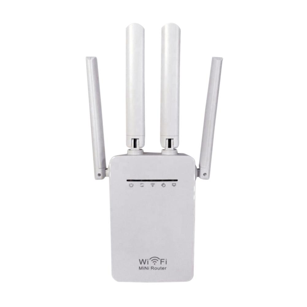 1pc 2.4 / 5G 4-Antenna WIFI Range Extender 300Mbps Dual-BandWiFi Repeater Router With Network Cable