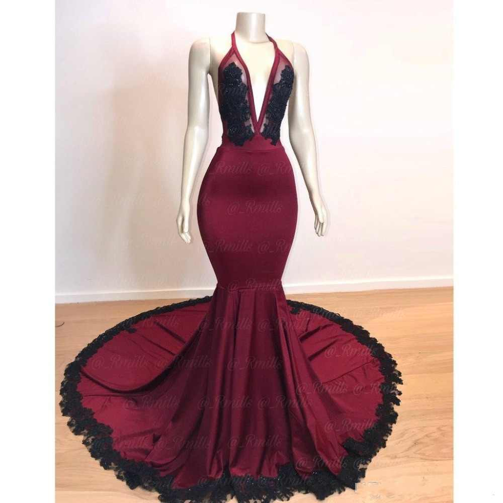 4c8d01325036 Detail Feedback Questions about New Halter Lace Long Mermaid Prom Dresses  2019 Elastic Satin Black Lace Applique Beaded Backless Court Train Formal  Party ...