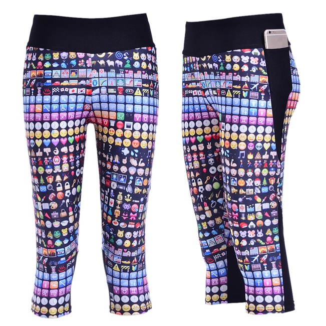 Slim Hip Women Mid-Calf Leggings Sexy Cute Expression Face Digital Print Fitness Yoga Cropped Trousers Elastic Breathable Capris