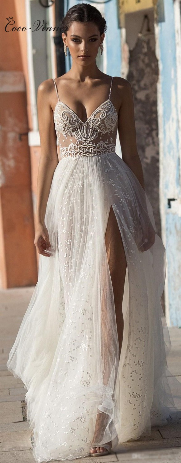 Sexy Illusion Travel Wedding Dress Beach Wedding Gown Beautiful Pearls Beading Straps Tulle Sweep Train Arab