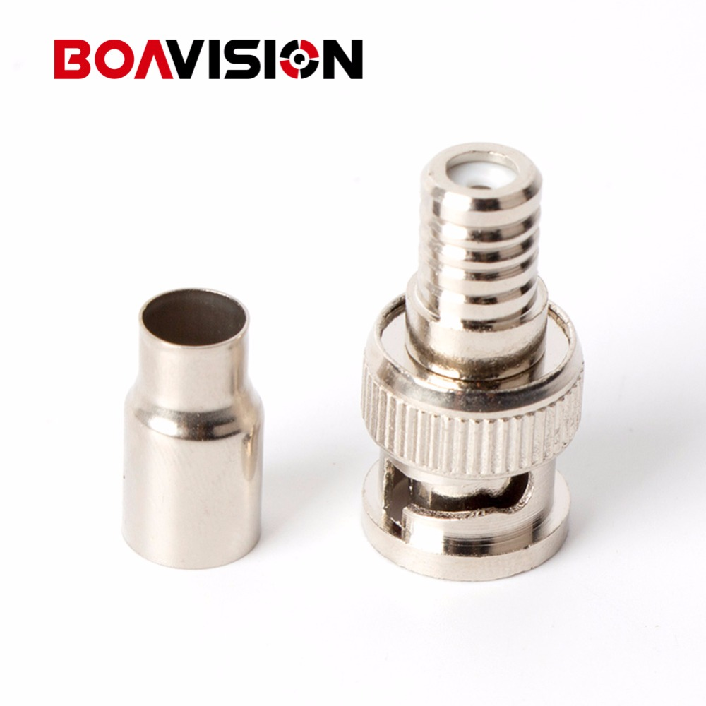 2-Piece Male BNC Crimp-On Connector CCTV RG59 Coax BNC Crimp on BNC Male Adapter Connector For CCTV Camera 100pcs/lot bnc м клемма каркам