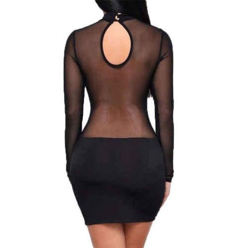 Robe d'été 2018 mode Europe femmes Robe Sexy Club robes à manches longues noir Bandage maille Robe Vestidos