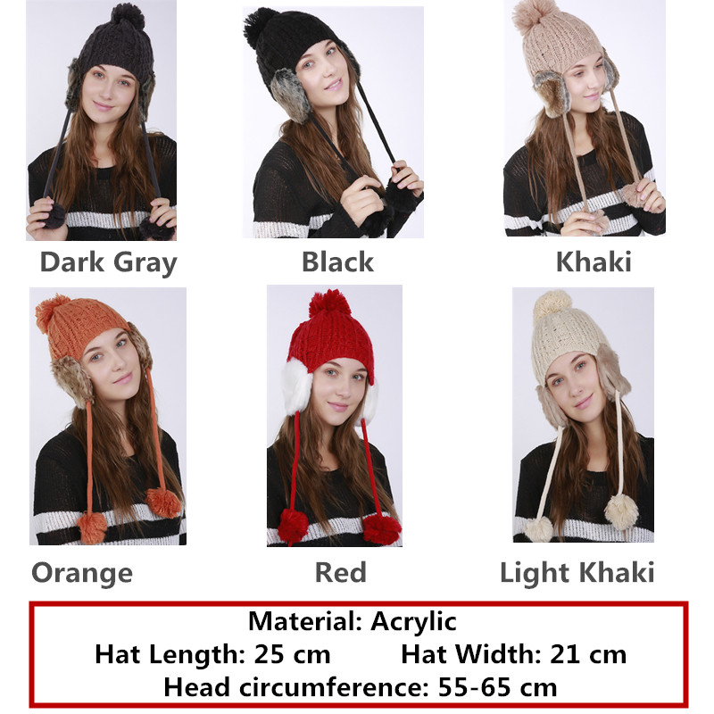 d5a0c403c3e26 2017 Women s Winter Knitted Hat Beanie for Girl Top Ball Hanging Ball  Earflap Hats Casual Fashion Letters Mixed Color Female Cap-in Women s  Skullies ...