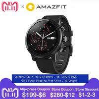 ЕС Huami Amazfit Stratos Смарт часы спортивные часы 2 2.5D экран gps 5ATM воды 1,34 ''gps xiaomi Firstbeat одежда заплыва Smartwatch