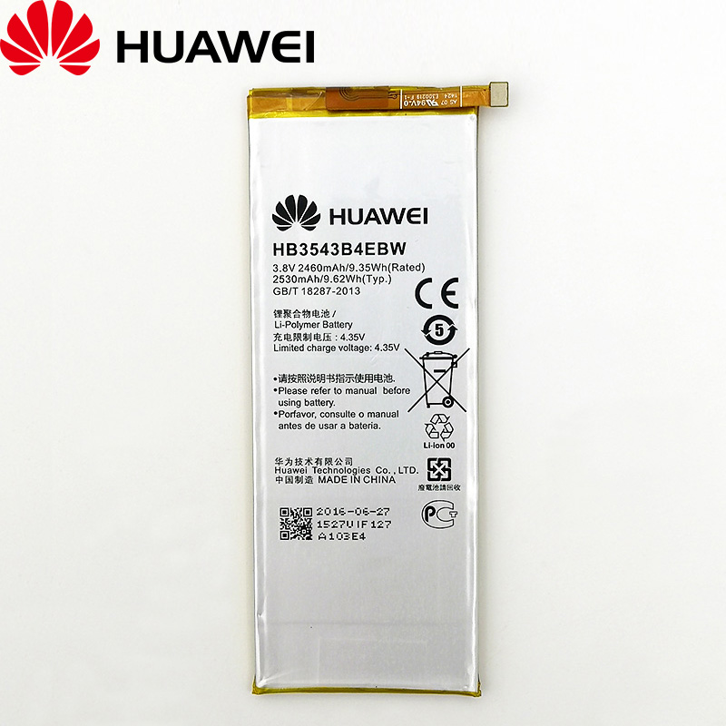 <font><b>Huawei</b></font> 100% Original HB3543B4EBW 2460mAh High quality Battery For <font><b>Huawei</b></font> Ascend <font><b>P7</b></font> <font><b>L07</b></font> L09 L00 L10 L05 L11 Cellphone battery image