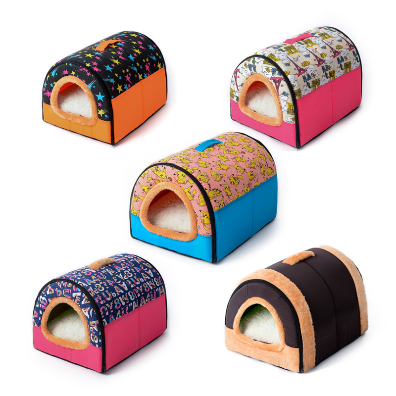 Dog Warming Cotton House Mat Foldable Pet Dog Bed Cat Washable Kennel Small Medium Dog Four Seasons A Nest Of Dual Use