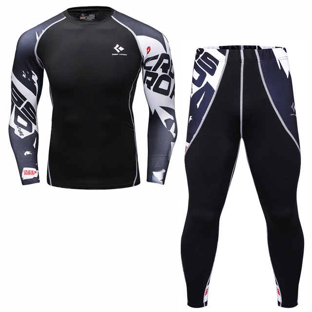 Mens compresión camiseta Set Bodybuilding Tight manga larga camisas  Leggings trajes MMA Crossfit entrenamiento Fitness ropa 23b4147171b27