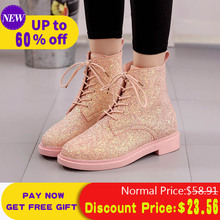 Liren Women Ankle Boots Lace Up Fall Winter Platform Low Heels Martin Boots Bling Round Toe Shoes Fashion Woman Booties lovely hello kitty round toe platform heels sweet princess lolita cosplay lace up winter boots