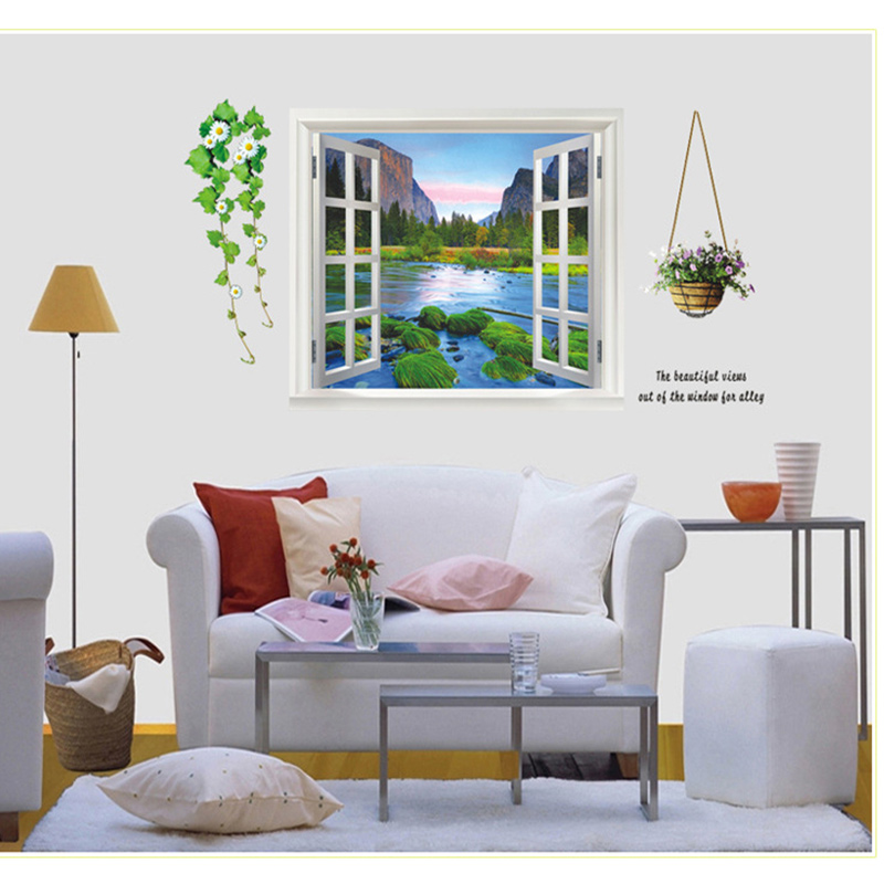 Mediterania laut palsu jendela diy removable dinding stiker parlor anak kamar tidur dekorasi rumah kenyamanan mural