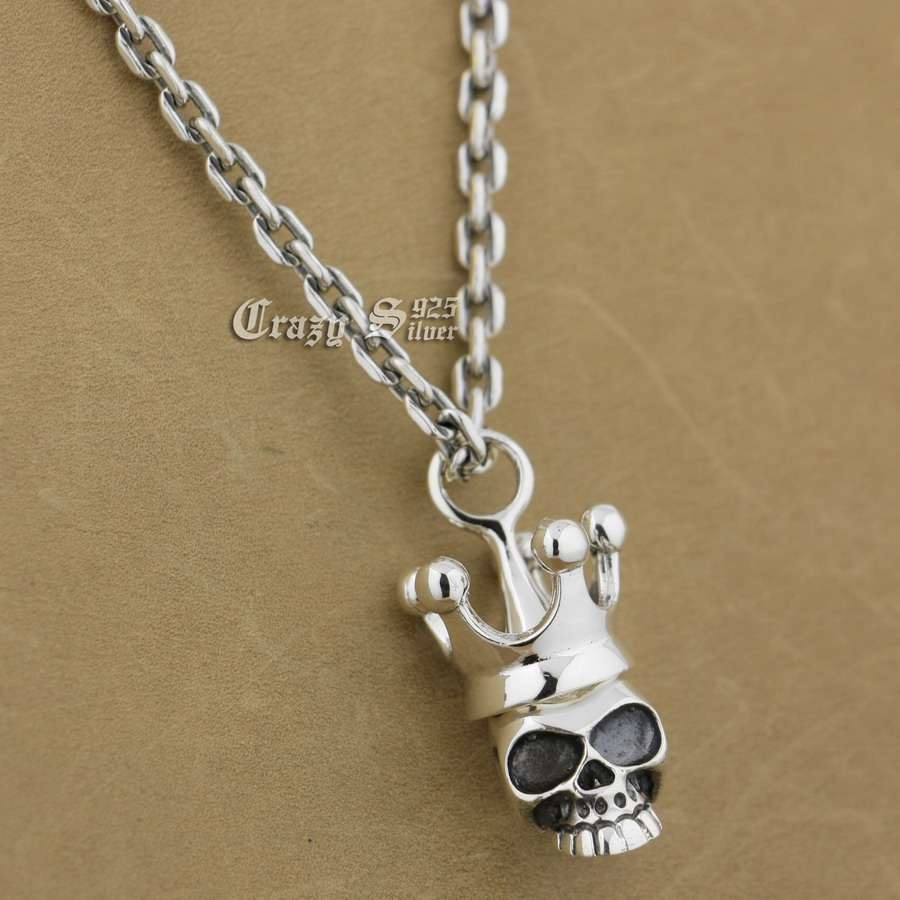 LINSION 925 Sterling Silver Skull Crown Mens Biker Pendant 9S109A 925 Sterling Silver Necklace 24 inches