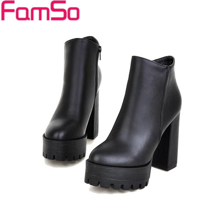 Free shipping 2016 New Sexy font b Women b font Boots Black White High Thick Heels