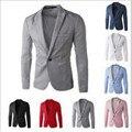 Повседневная Пиджаки Бренд Мужской высокое качество Blaser Slim Fit Мода Мужская Blazer Куртка хлопок одной Кнопки бизнес партия Мужчины костюм