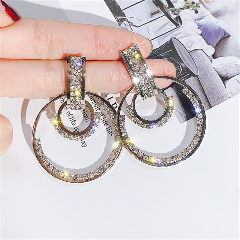 DREJEW Big Small Round Triangle Women 39 s Statement Earrings Sets 2019 Crystal 925 Drop Earrings for Women Wedding Jewelry HE726 in Drop Earrings from Jewelry amp Accessories