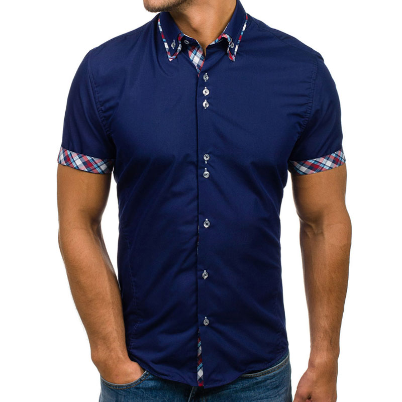 New Brand men Clothing 2018 Fashion Shirt Male Dress Shirts Slim Fit Turn-Down Men Short ...