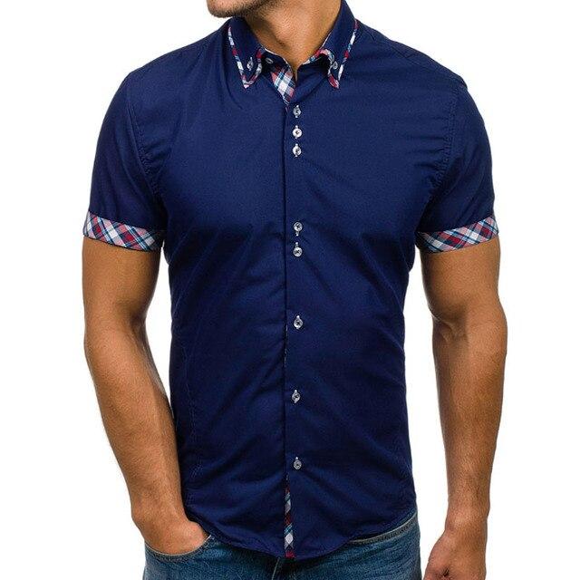 Korte Mouw Overhemd Mannen.Nieuwe Merk Mannen Kleding 2018 Mode Shirt Mannelijke Overhemden