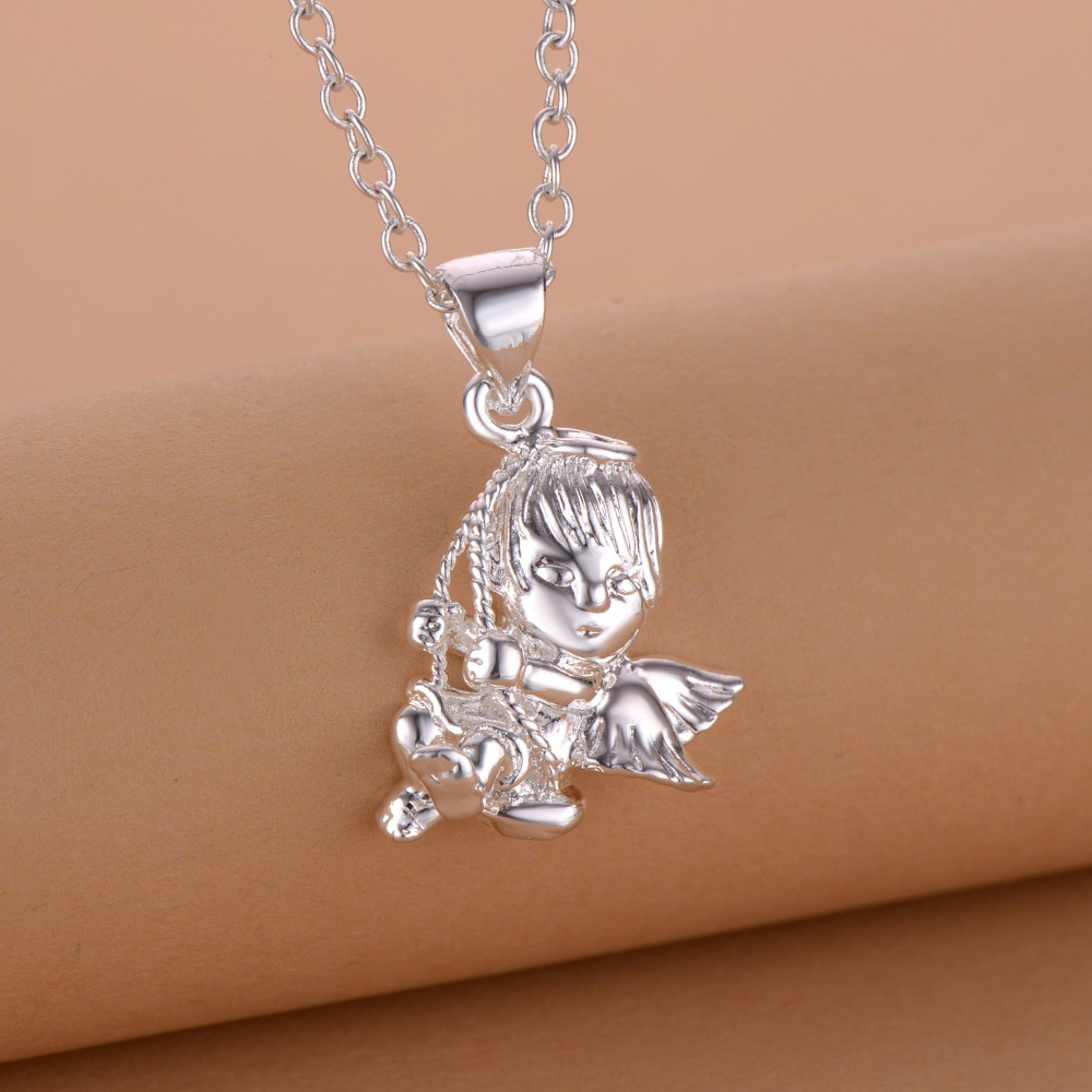 flying angel cute silver plated Necklace New Sale silver necklaces & pendants /RNYKUYRY MAMTVSZV