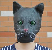 цена Top Grade Costume Party Schwarze Katze Meow Kopf Mask Halloween Cosplay Latex Vollen Kopf All Face Black Head Cat Mask Cat head онлайн в 2017 году