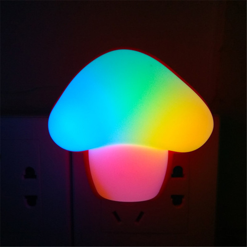 Colorful Mushroom Led Night Lamp EU Or US Plug With Switch On/off Creative Gifts For Kids,Children(AC100-240V)