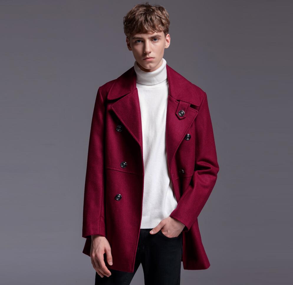 Men Wine Red Wool Coat Autumn Winter New Lapel Large Pattern Woolen Trench Coat Large Size Men Casual Outwear ! S-6XL