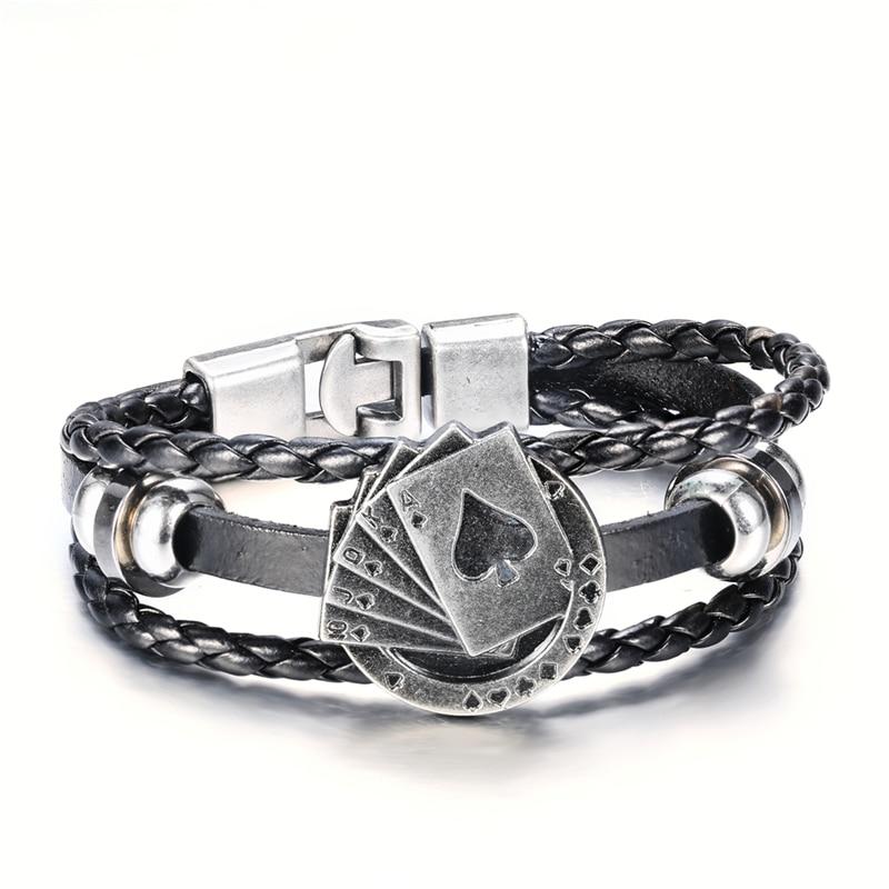 BOAKO Black Handmade Braided Leather Bracelet Men Strands Rope Lucky Spade Straight Flush Poker Charm Jewelry for Male X7-M2