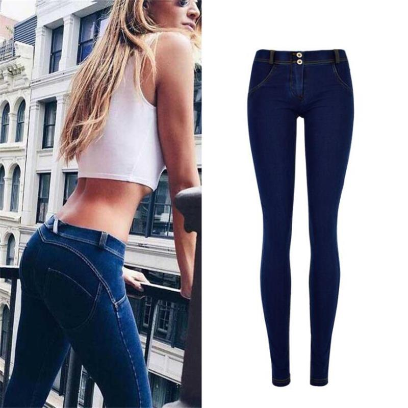 SupSindy Women Jeans Sexy Elastic Stretch Skinny Jeans Woman Hips Up Low Waist Jeans For Women Pencil Pants Denim Trousers Blue