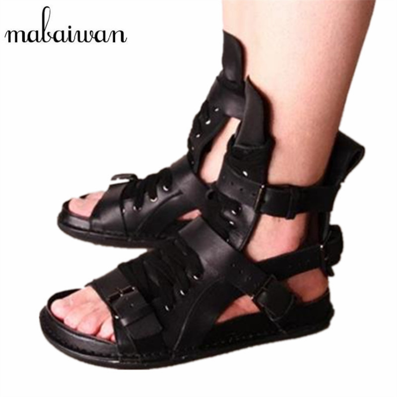 Mabaiwan Men Summer Sandals Punk Style Casual Flat Shoes Roman Gladiator Sandals Flip Flops Black Mens Flats Beach Shoes gladiator sandals 2017 summer style comfort flats casual creepers platform pu shoes woman casual beach black sandals plus us 8