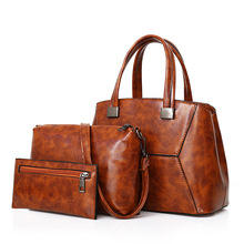 New 2018 female  European and American fashion mother stitching single shoulder mother three-piece set handheld oblique sway bag pressing flowers handheld single shoulder oblique bag