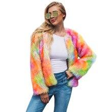 a7844a385391b Moda Jesień zima Kobiety Faux Futra Otwarta Przednia Gruby Ciepły Sweter  Odzieży Wierzchniej Kurtki dla Kobiet Nowy Płaszcz Poma.