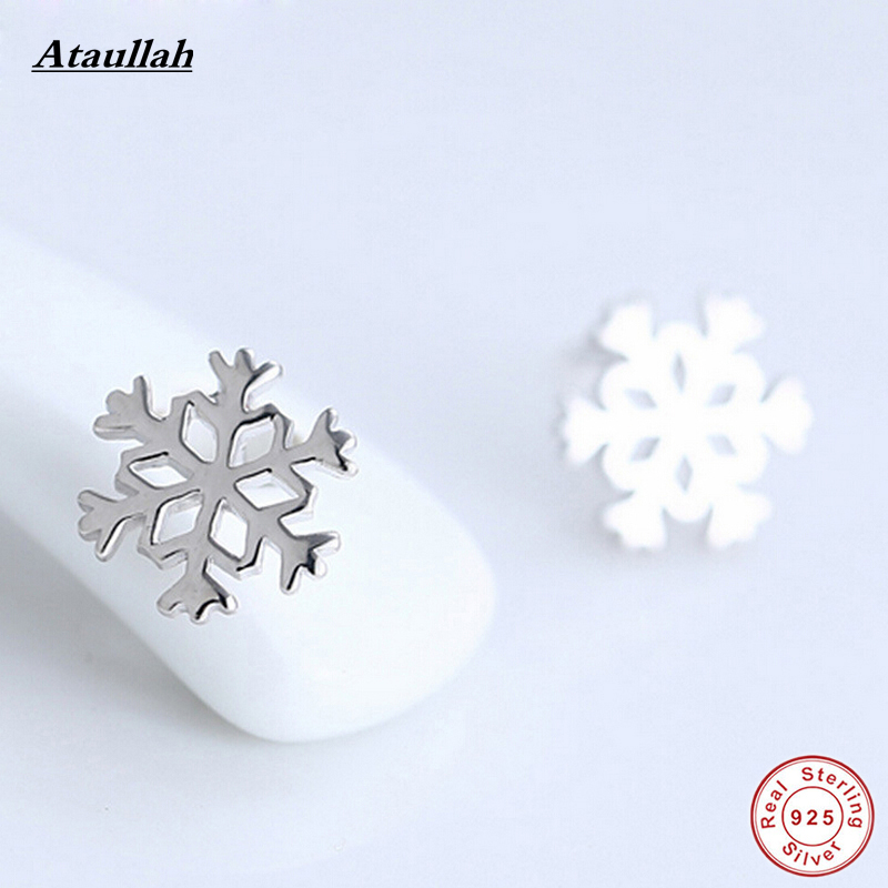 Ataullah Brand New Snowflake Pure 925 Sterling Silver Stud Earrings for Women Silver 925 Jewelry Party Earrings EWS210