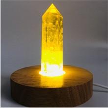 Natural yellow quartz Crystal gemstone point reiki healing chakra citrine rock crystal wand feng shui gift+Wood base lamp