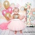2016 pink бальное платье туту принцесса Театрализованное 1 год Рождения платье для Девочек Ребенка с Золотой лук крещение платье крещение платье