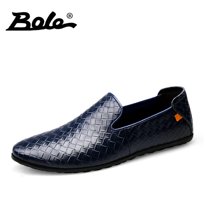 BOLE New Summer Style Men Loafers Fashion Slip on Weave Texture Men Leather Shoes Breathable Round Head Shoes Men Flats Footwear