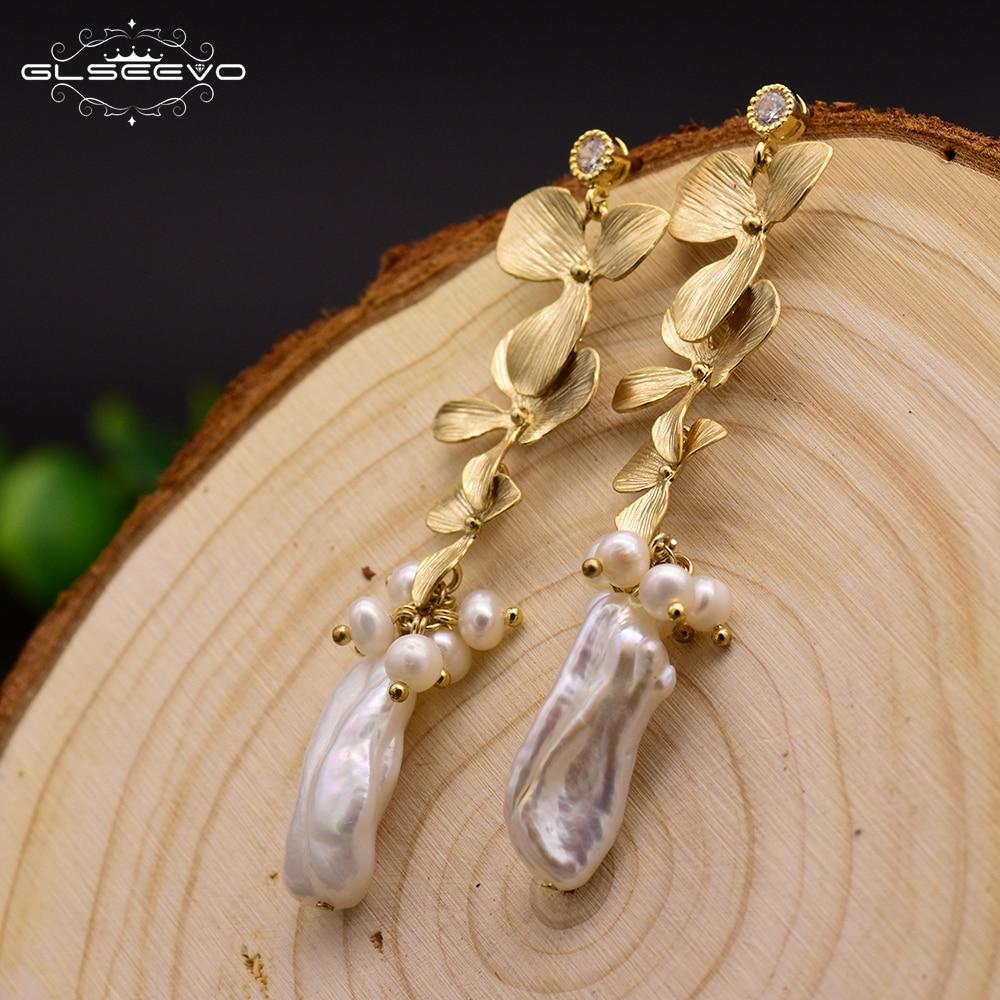 GLSEEVO Original Design Long gland Dangle boucles d'oreilles pour femmes naturel eau douce Baroque gris perle goutte boucle d'oreille Brincos GE0318
