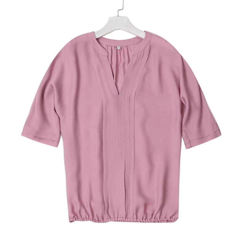 Frauen Sommer Mitte Hülse Chiffon Blusen Mode Heißer Stil V-ausschnitt Chiffon Hemd Einfache Design Alle Spiel Shirts OL Grund Top