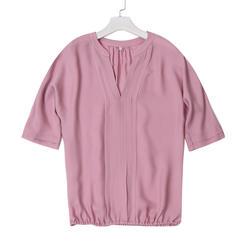 Женская летняя шифоновая блузка со средним рукавом Модный популярный стиль v-образный вырез шифоновая рубашка Простой дизайн