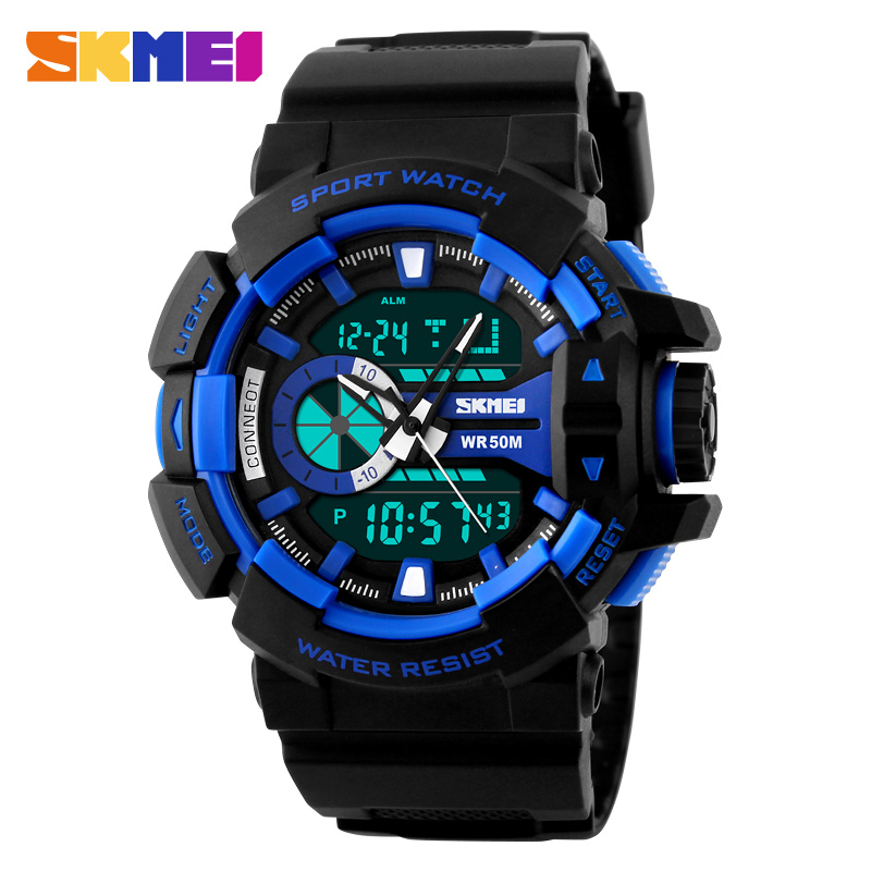New Watch SKMEI Luxury Brand Men Military Sports Fashion Casual Watches Dual Time Digital LED Quartz Wristwatches Rubber Strap