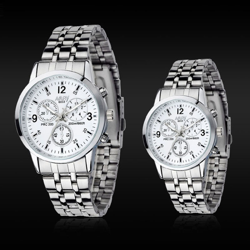 NARY Brand Fashion Men Watch Stainless Steel Band Calendar Women Watch Casual Business Quartz Wristwatch Clock
