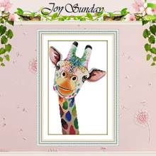 Giraffe patterns counted Cross Stitch 11CT 14CT Cross Stitch Set Wholesale DIY animals Cross-stitch Kit Embroidery Needlework red rose on the table painting counted 11ct 14ct cross stitch wholesale diy cross stitch kit embroidery needlework home decor