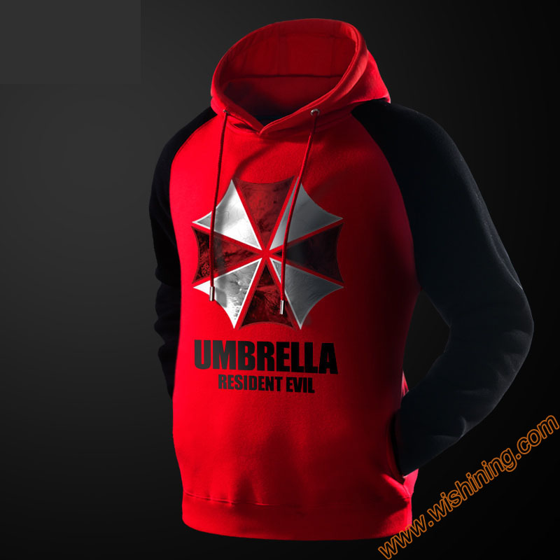 Cool Resident Evil Umbrella Sweatshirts For Young Boys Fans Red Black Plus Size 4XL Hoodie