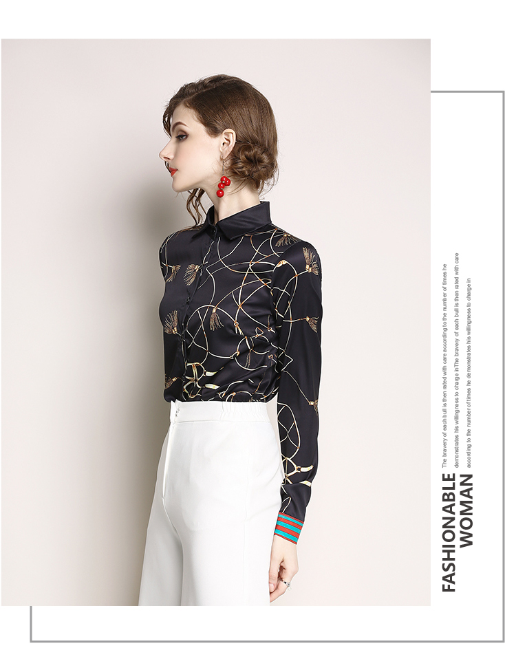 High Quality 2018 Summer Fashion Women Blouse Fishes Print Casual Slim Long Sleeve Turn Down Collar Shirt Tops Female C1157