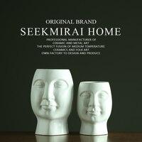 2018 новый творческий руководитель ваза для цветов Белый Абстрактный керамическая ваза лицо Будды ваза