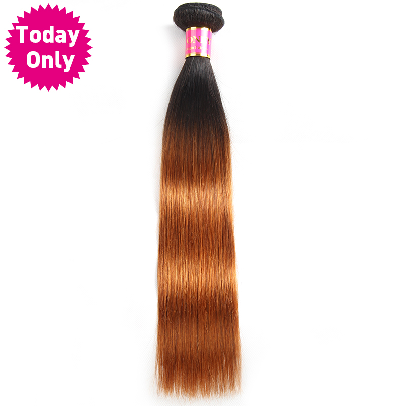 [TODAY ONLY] Ombre Brazilian Straight Hair Bundles 100% Human Hair Weave Bundles Two Tone 1b 30 Hair Extensions Non Remy Hair