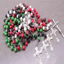 Classic wood beads 6mm rose perfume, prayer rosary, Jesus cross necklace necklace, stylish Catholic religious jewelry.