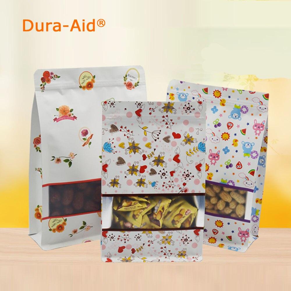 Dura-aid réutilisable fermeture à glissière Kraft papier fenêtre sac pleine fleur impression Stand up cadeau aliments secs fruits thé emballage poches