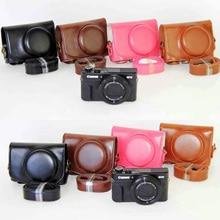 Кожаный Чехол Сумка для Фотокамеры Чехол для Canon G7x mark II Камеры Чехол + ремень