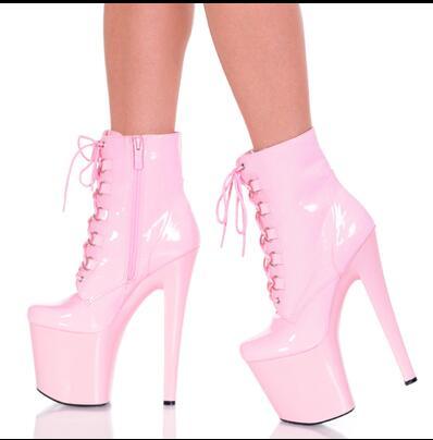 4e8cc5d07f90 New Arrival Cute Pink Patent Leather Jelly Pumps High Platform Lace up  Women Pumps High Heel Stilettos Ankle Bootie Zipper Boots