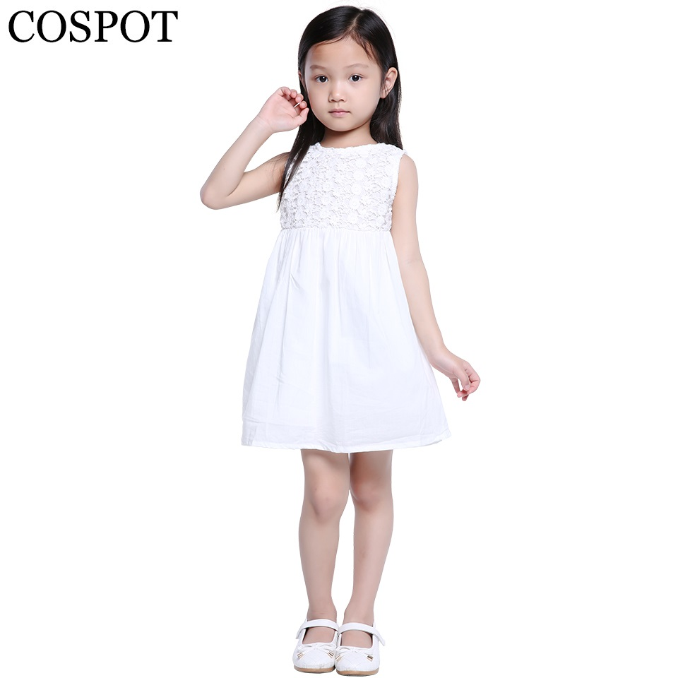 Baby Girls Summer Princess Dress Girl's Plain White Mini Dress Girls Summer Fashion Casual Dress 2019 Ny ankomst 20